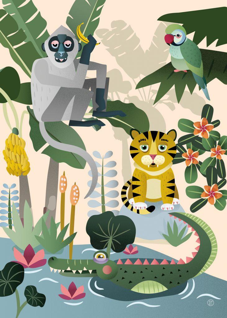 Jungeldyr - dyremotiv illustrasjon barn bok plakat krokodille tiger undulat ape palme
