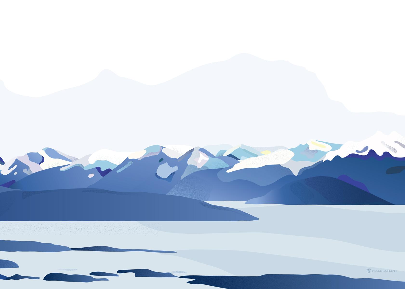 molde illustrasjon moldefjorden moldepanorama fjell fjord norsk natur