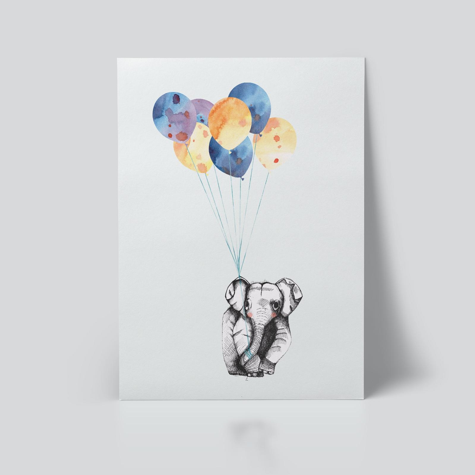 Elefant og ballong Plakat barnerom ohoi studio