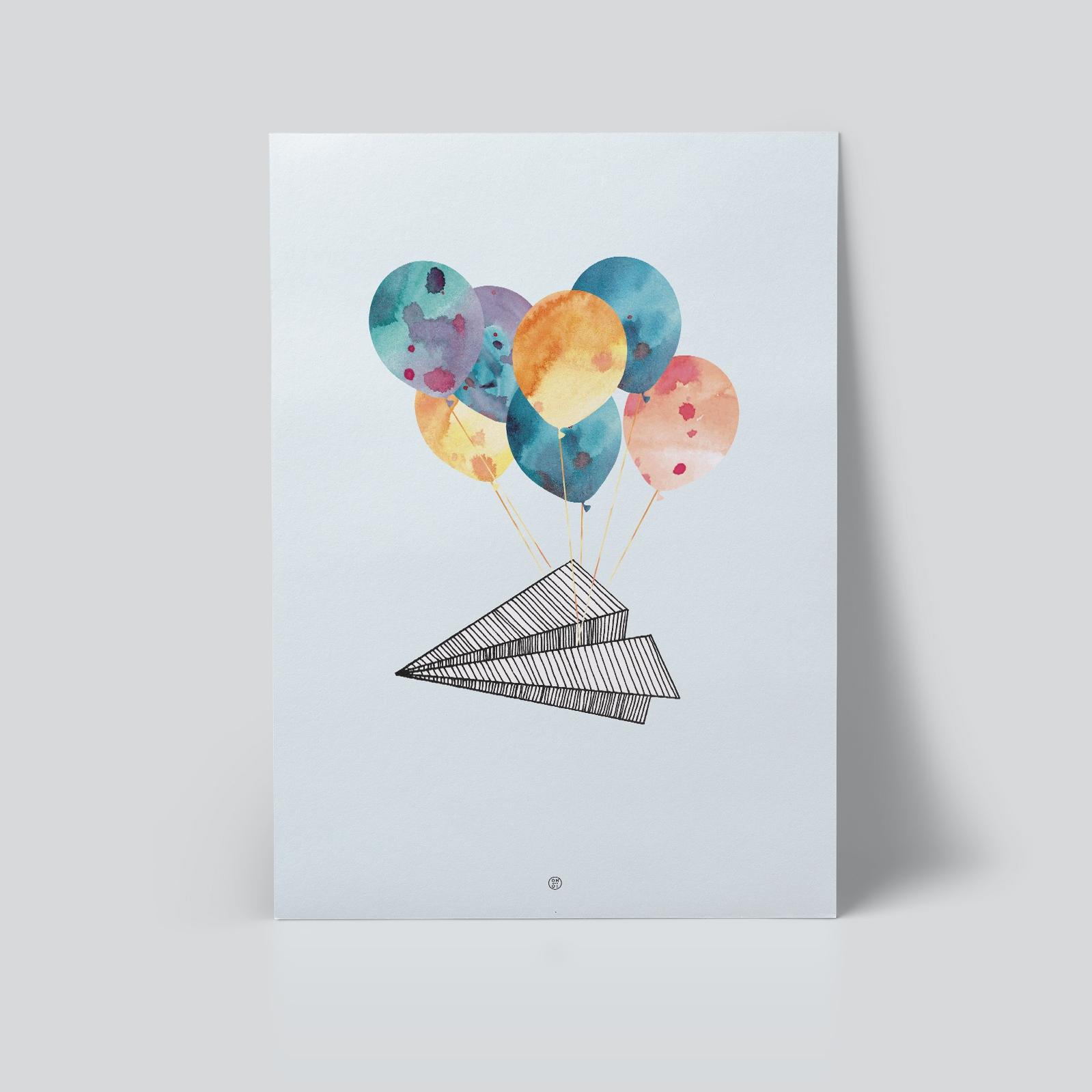 papirfly plakat | barnerom | ballonger