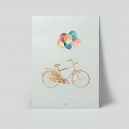 Sykkel og ballonger plakat av Ohoi Studio
