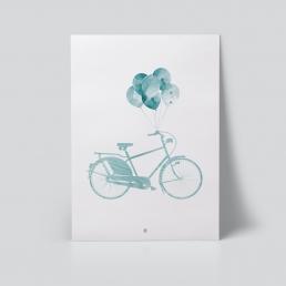 blå sykkel og ballong plakat av Ohoi Studio