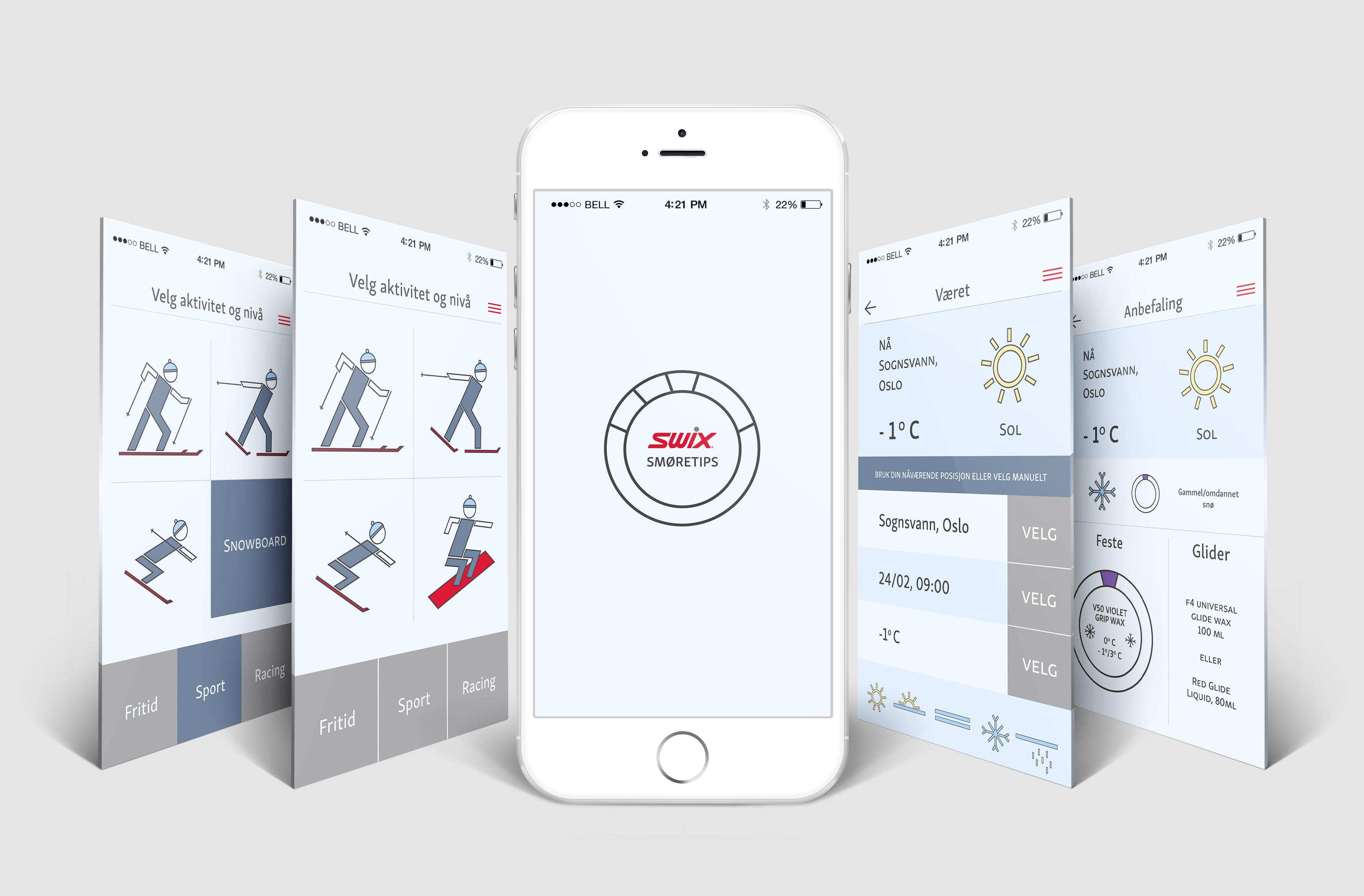 Swix app redesign skisse