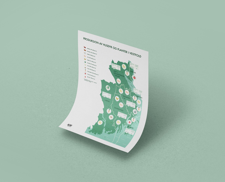 vestfold plakat kart ikoner jordbruk symboler eple gulrot ku sau korn produksjon