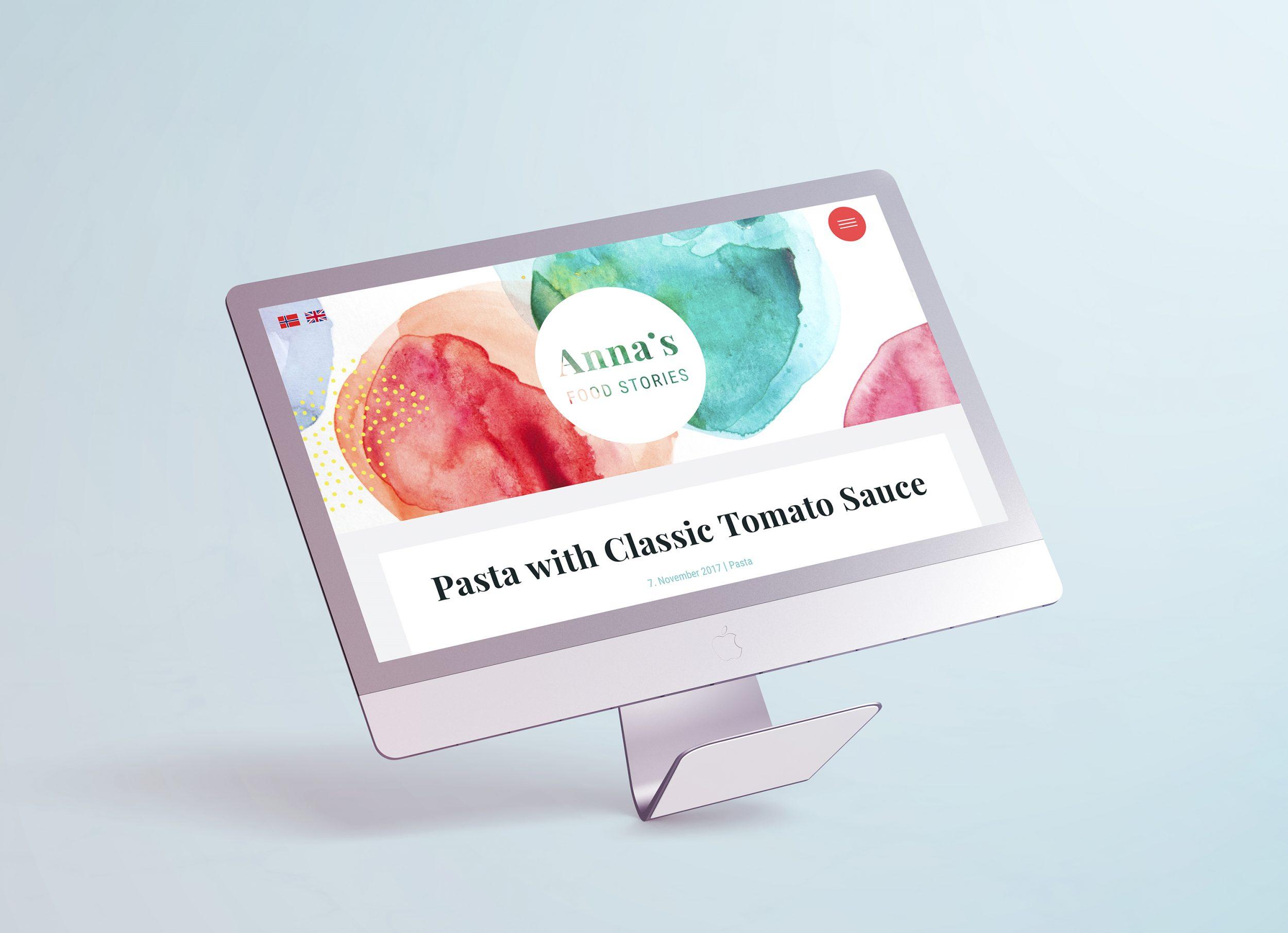 Annas food stories - blogg design - mat - matblogg wordpress illustrasjon logo identitet banner