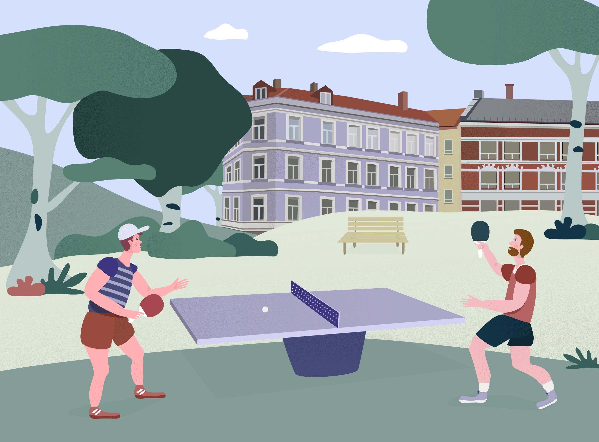 Ping Pong byliv parkliv illustrasjon digital mennesker park sport spill