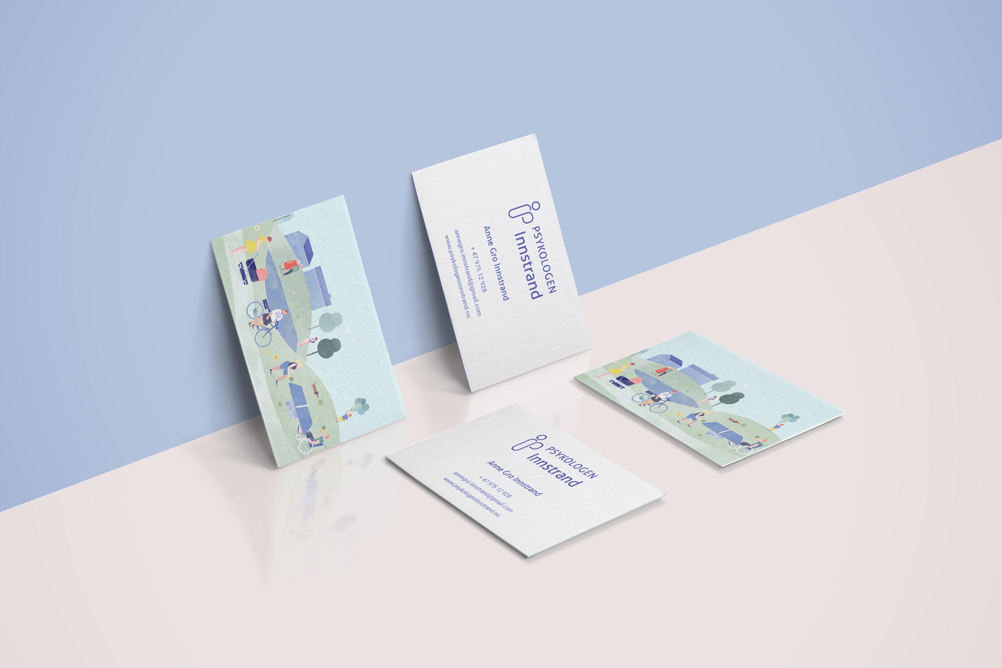 visittkort - Visuell identitet, logo og illustrasjon for Psykologen Innstrand - skyfri himmel, parkliv, urban, natur av Ohoi Studio