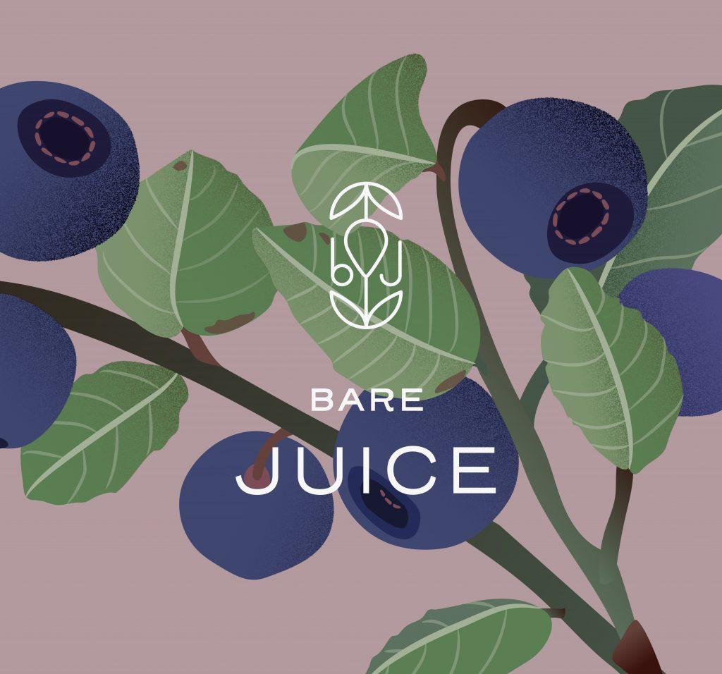 Identitet juice bare - logo - drikke - emballasje blåbær